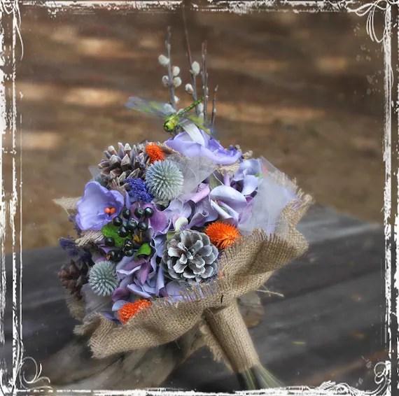 Forest Fantasy Bridal Bouquet Woodland Weddings Dragonfly