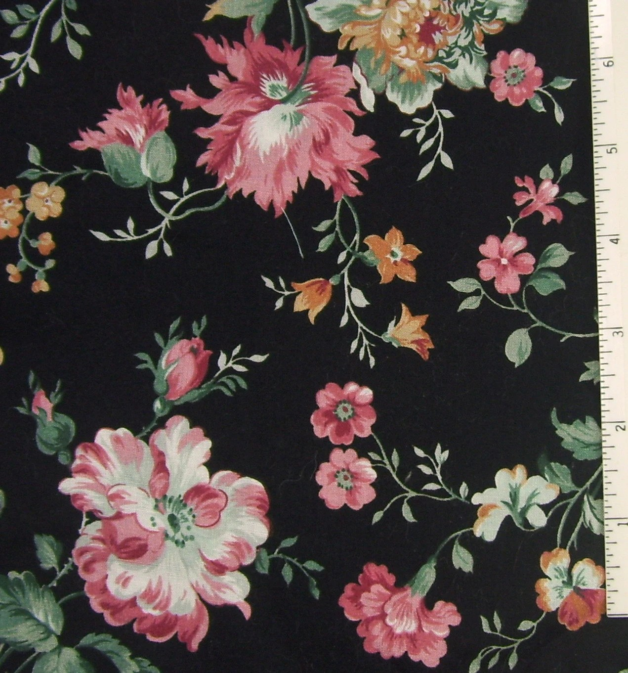 Fabric Cotton Black Pink Rose Floral Print by ReVampingVintage