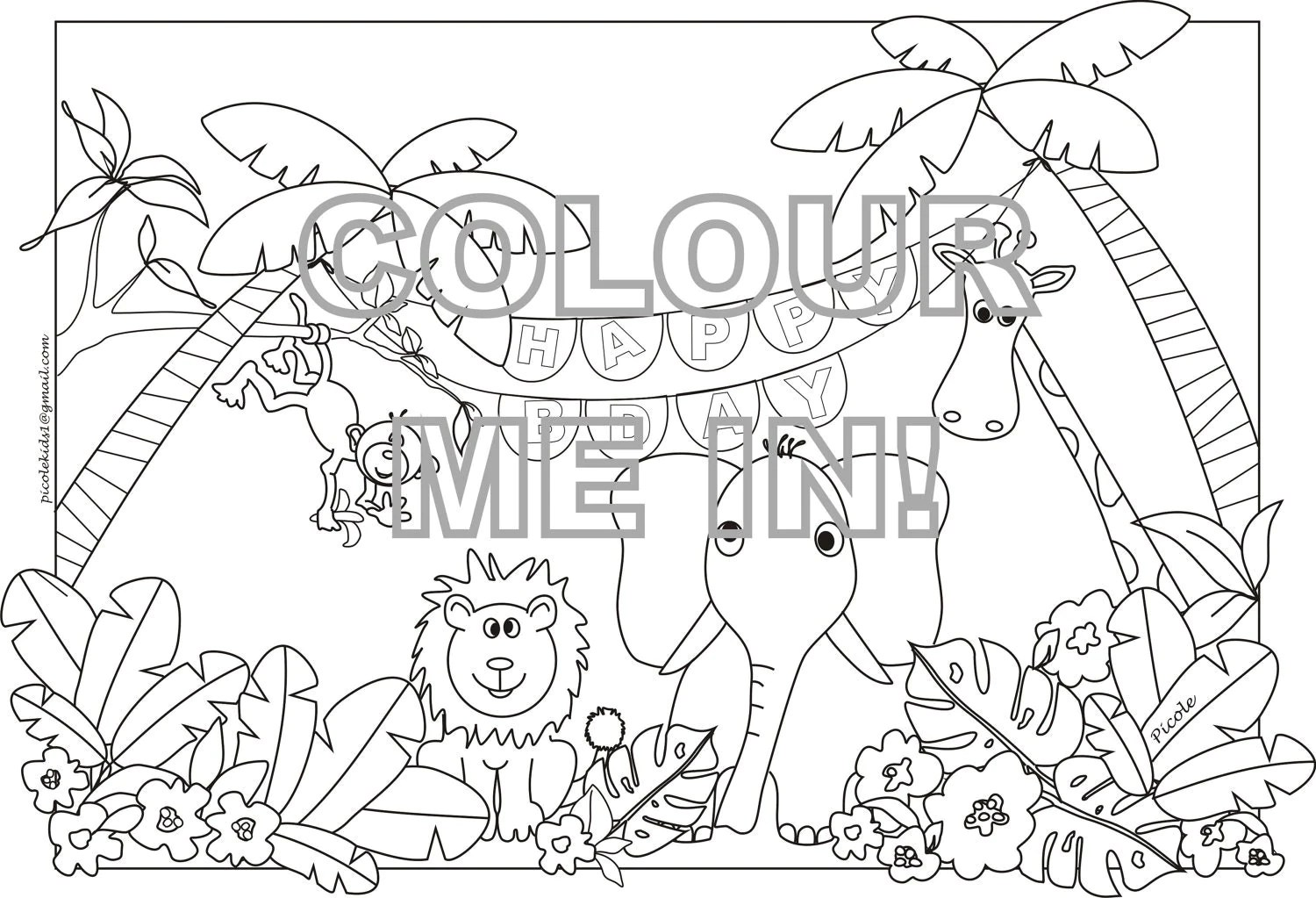 Items similar to Jungle animals Colouring page/sheet on Etsy   coloring pages for animals in the jungle