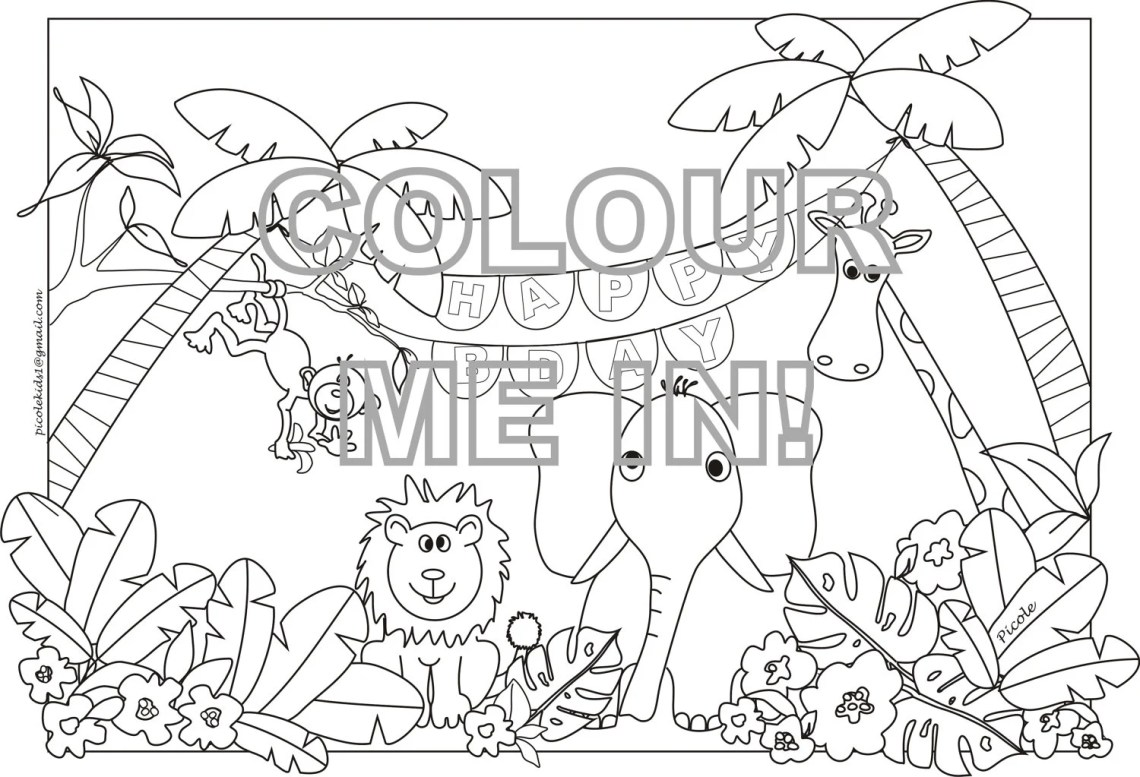 Items similar to Jungle animals Colouring page/sheet on Etsy | printable colouring pages jungle animals