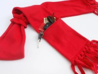 Zipper Pocket Fleece Scarf in Red with Matching Fleece Scarf