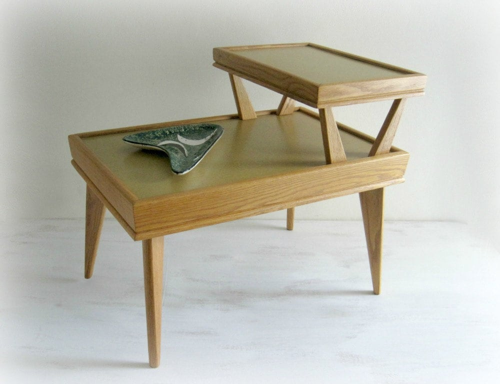 Mid-Century End Table Oak 2 Tier Side Table