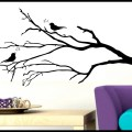 Tree branch wall decal with song birds removable vinyl sticker decor