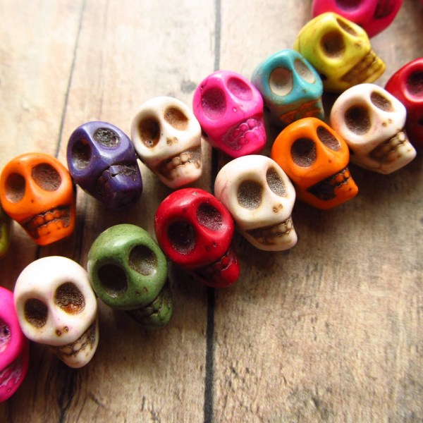 Multi-color Bone Style Skull Beads Side Drilled 10x12mm