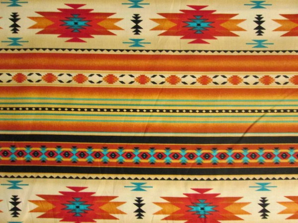 Native American Traditional Navajo Gold Teal Border by