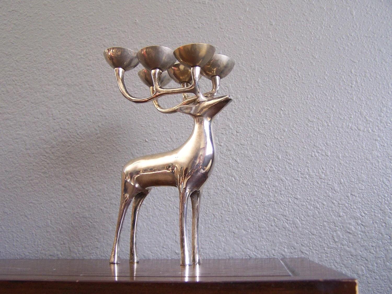 Vintage Silver Brass Elk Deer Candle Holder