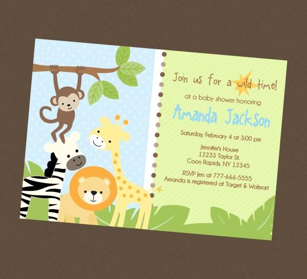 Jungle Safari Baby Shower Invitation Briezeesboutique