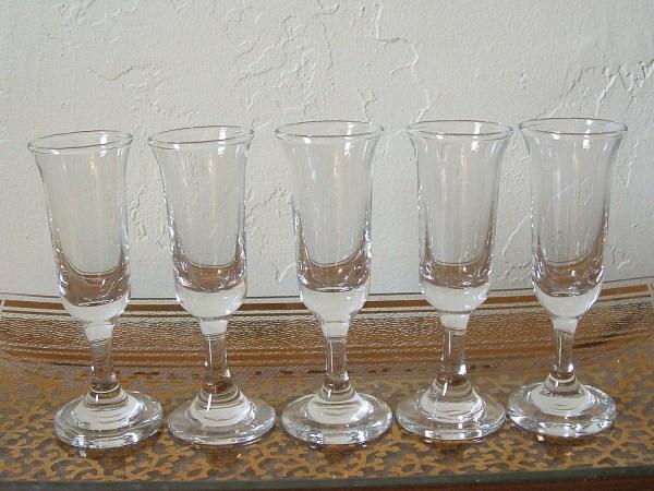 Vintage Cordial Glasses Shot Set Of 5 Small