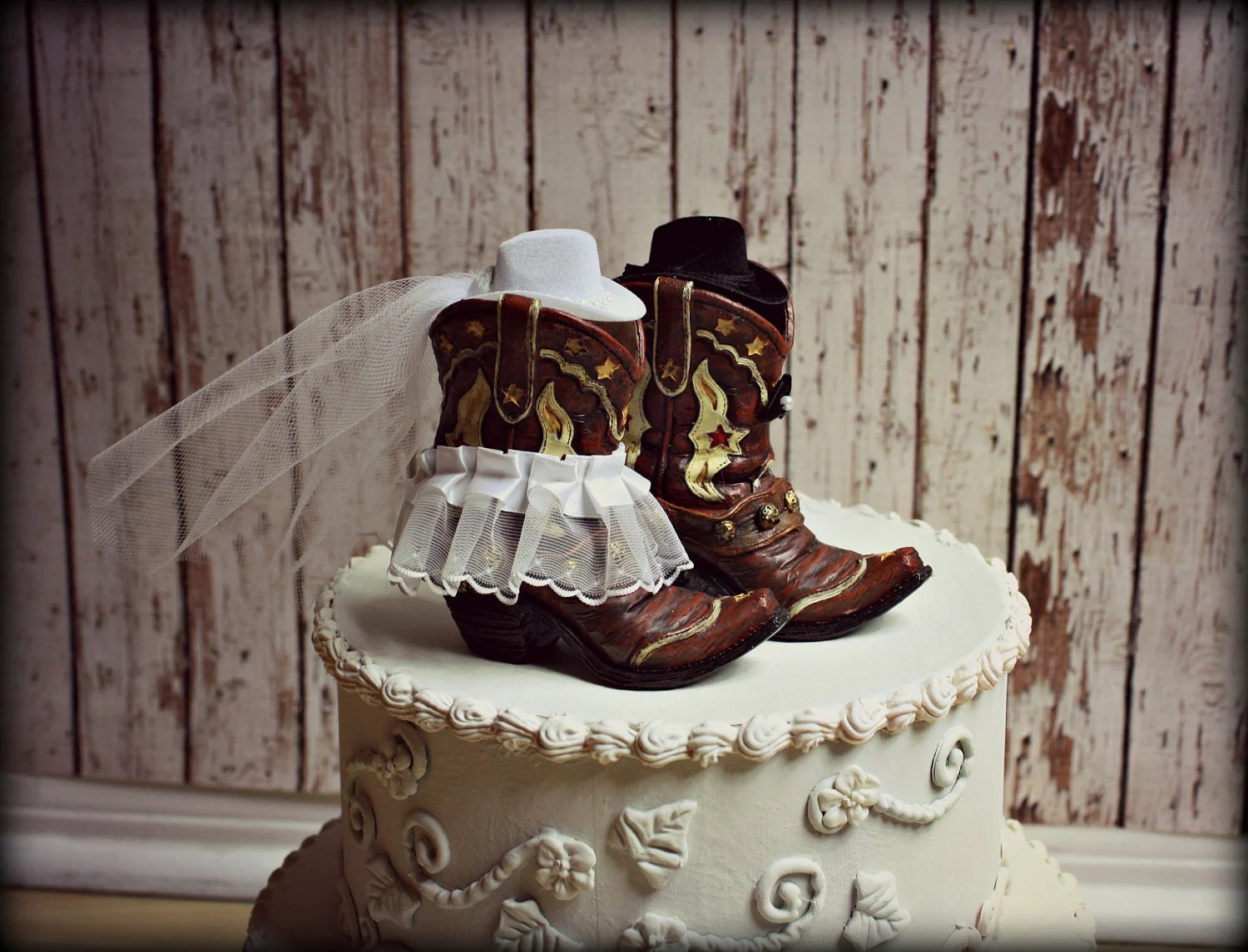 Cowboy Boots Wedding Cake TopperWestern by MorganTheCreator