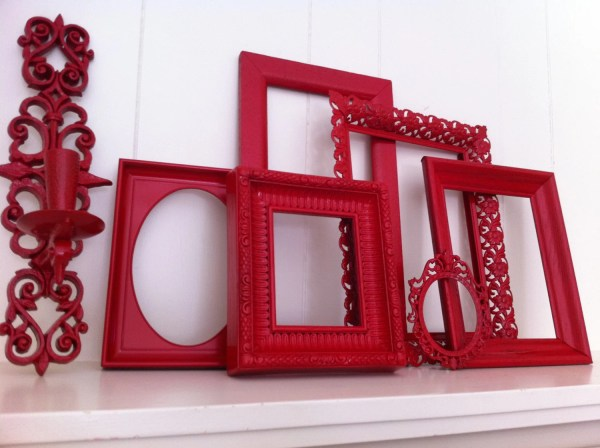 Red Frames Wall Funky Vintage Frame Set Collage