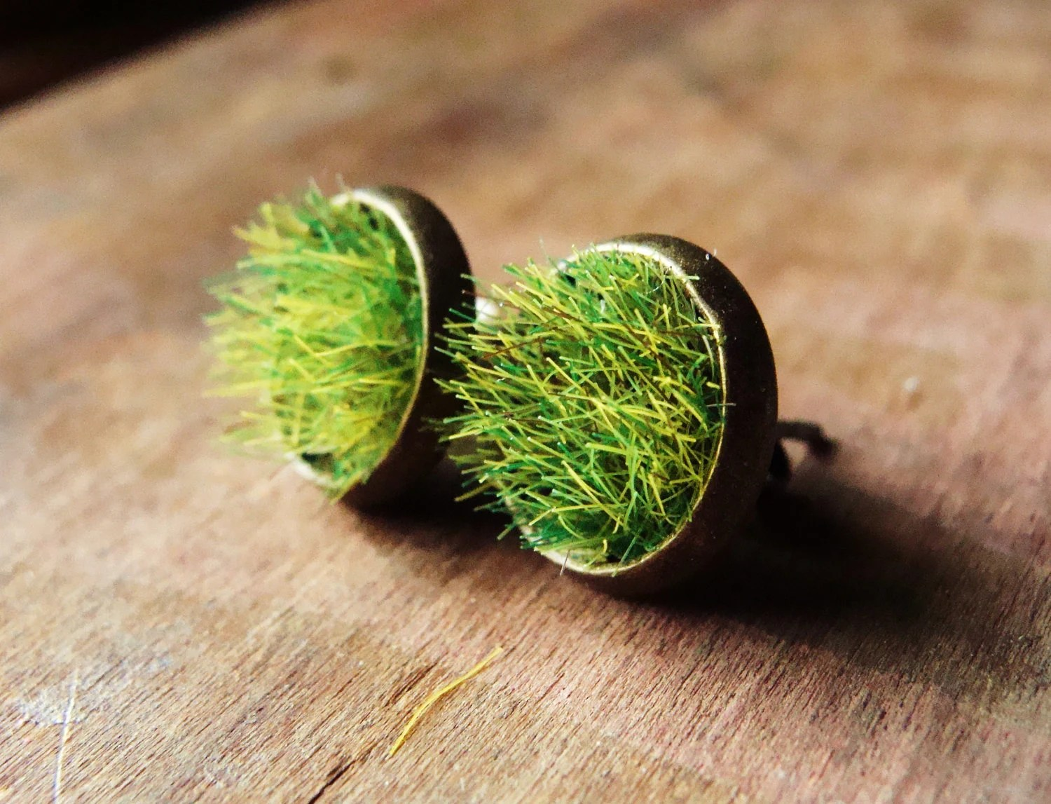 Green Grass Stud Earrings in Tarnished Bronze Round Bezels - aptoArt
