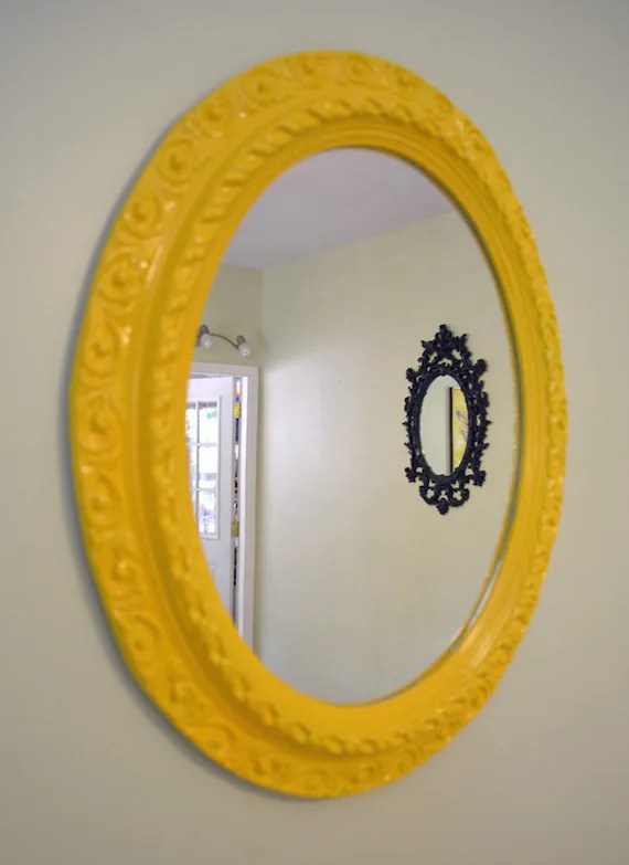 Vintage Oval Ornate Yellow Wall Mirror Frame