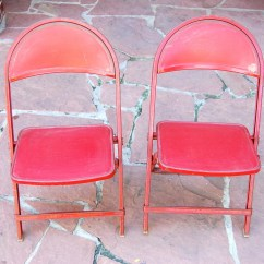 Kids Metal Chairs Re Caning A Chair Vintage Red Children 39s Folding Set Of By