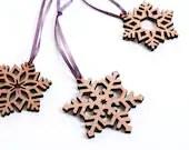 Holiday Snowflake Ornaments, Wood, Laser Cut Wood Snowflake, Wooden Ornament, Sustainable Wood - AKLaser