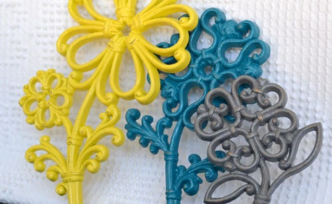 Teal Yellow Grey Gray Wall Flowers Upcycled Painted Wall