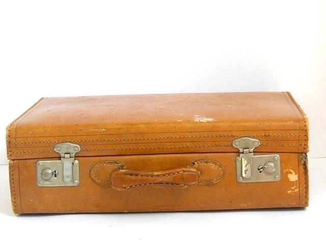 Vintage Leather Luggage Suitcase, Brown Leather Suitcase, Travel Case, Camel Leather Carry ON Suitcase, Mid Century 1960 Suitcase