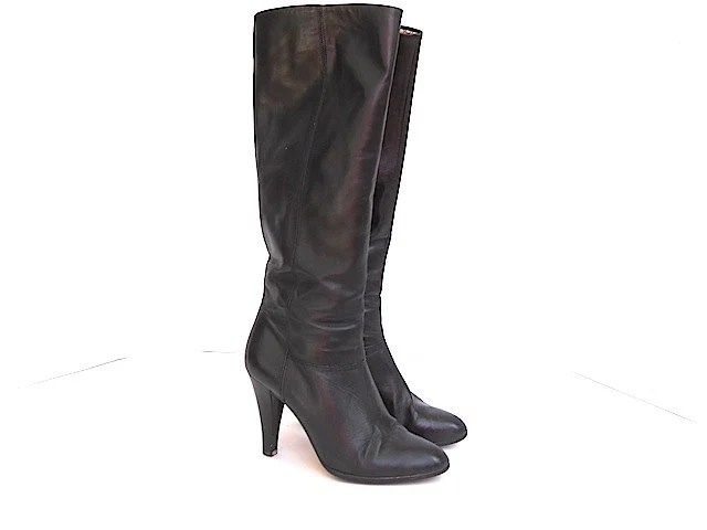 Sexy Black Vintage Leather Boots, Mrs Claus Christmas Boots, Made In Austria, Women's Boots Size 4.5, Black Leather, Winter Fashion