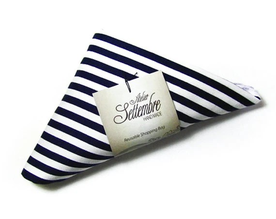 Nautical cloth shopper handmade with blue and white striped cotton tote bag edged in white ribbon and folded a triangle for her and for him - AtelierSettembre