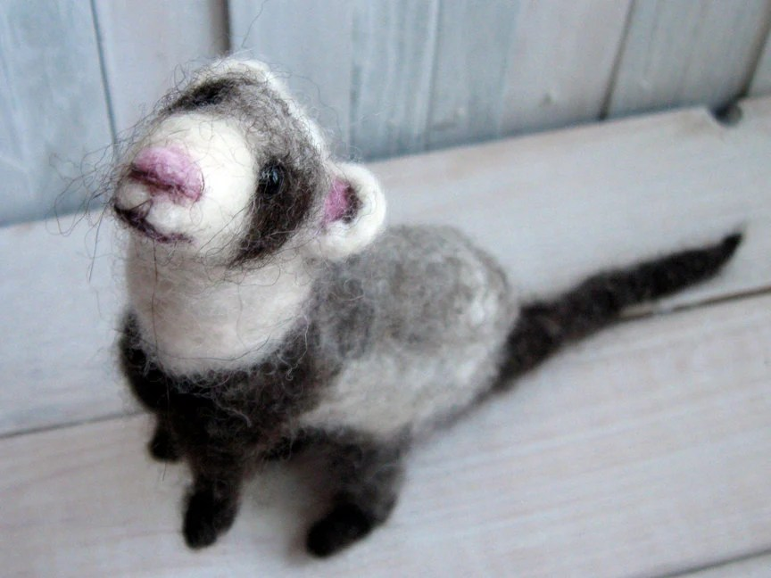 Ferret handmade doll - grey needle felted wool