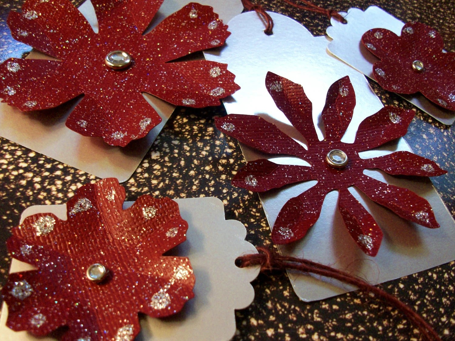 "Winter Holiday Gift Tags - Large 4 1/4"" x 2""- Silver Glitter Dark Red- Set of 4"