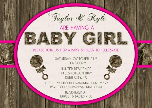 Pink Wood & Hunting Camo Baby Shower Invitation Digital