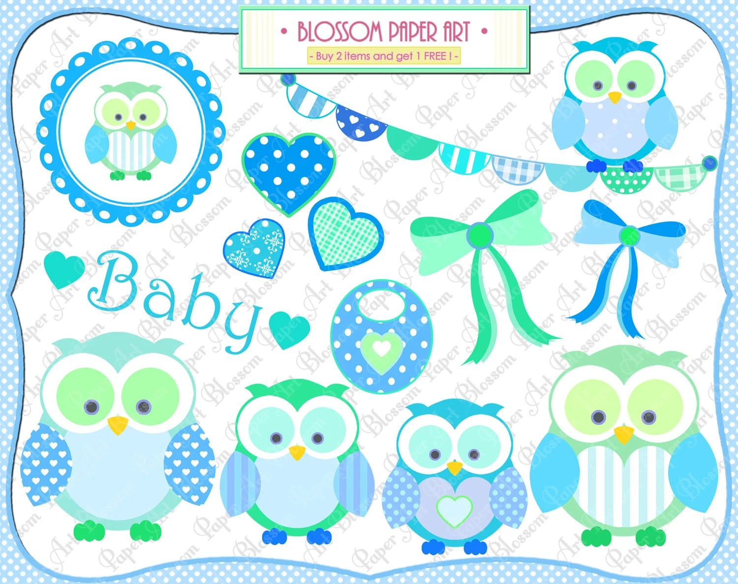 Baby Boy Owls Clipart Baby Shower Printables Personal