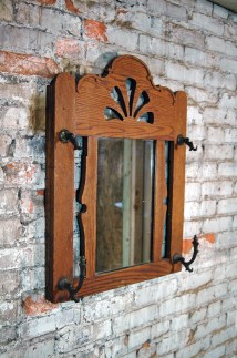 Vintage Mission Style Oak Wall Coat Rack With Mirror Entryway