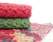 Kitchen Potholder and Dishcloth Set - Crochet Pot Holder - Crochet Dish Cloths - 100% Cotton - pomegranatefarm