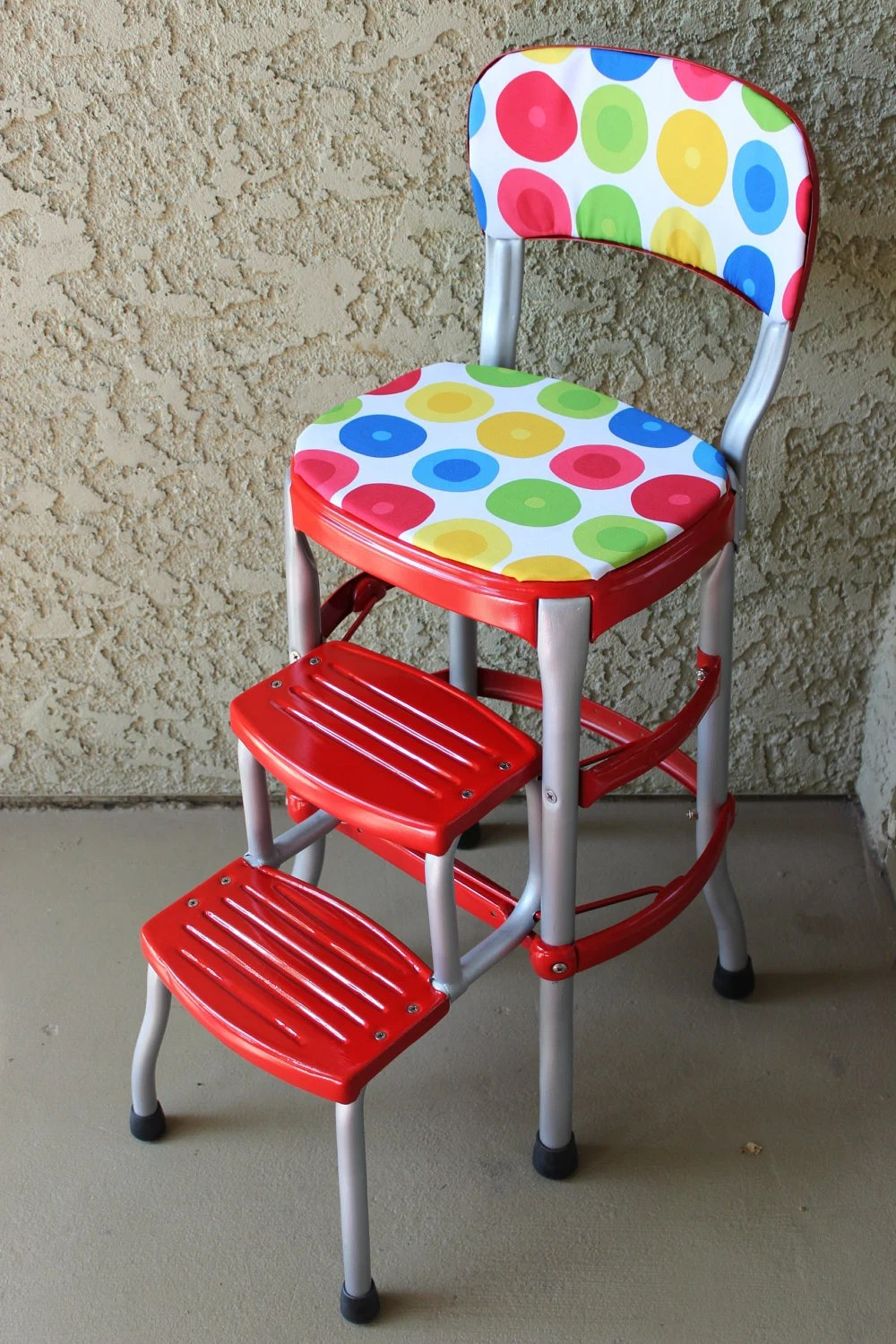 vintage cosco step stool chair accent with ottoman red
