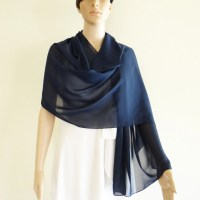 Navy Blue Shawl. Navy Blue Wrap Scarf. Long Chiffon scarf.