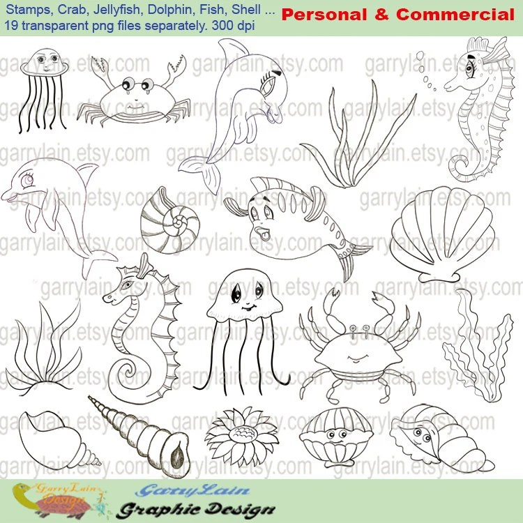 Items similar to Sea animal clipart, digital stamp clip