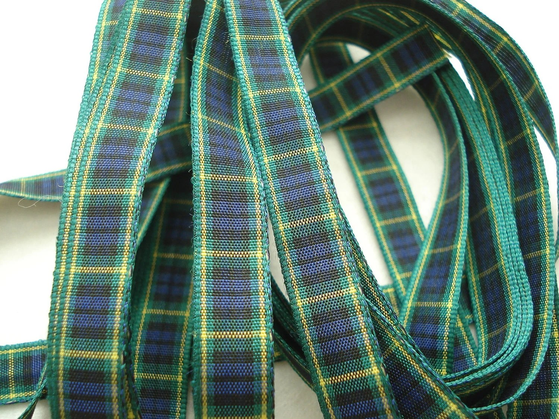 Green Blue Yellow Tartan Ribbon 3 Metres Plaid Ribbon Check