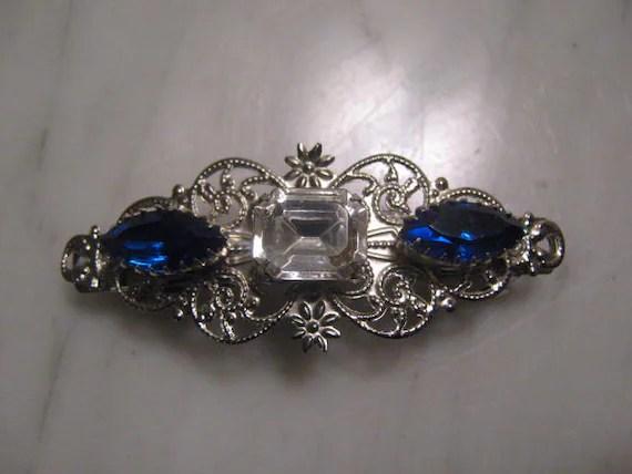SILVER Filigree Barrette Hair Clip Sapphire Blue Rhinestone