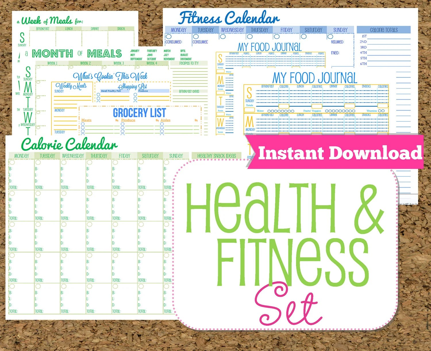 Instant Download Fitness And Health Printables Set Workout