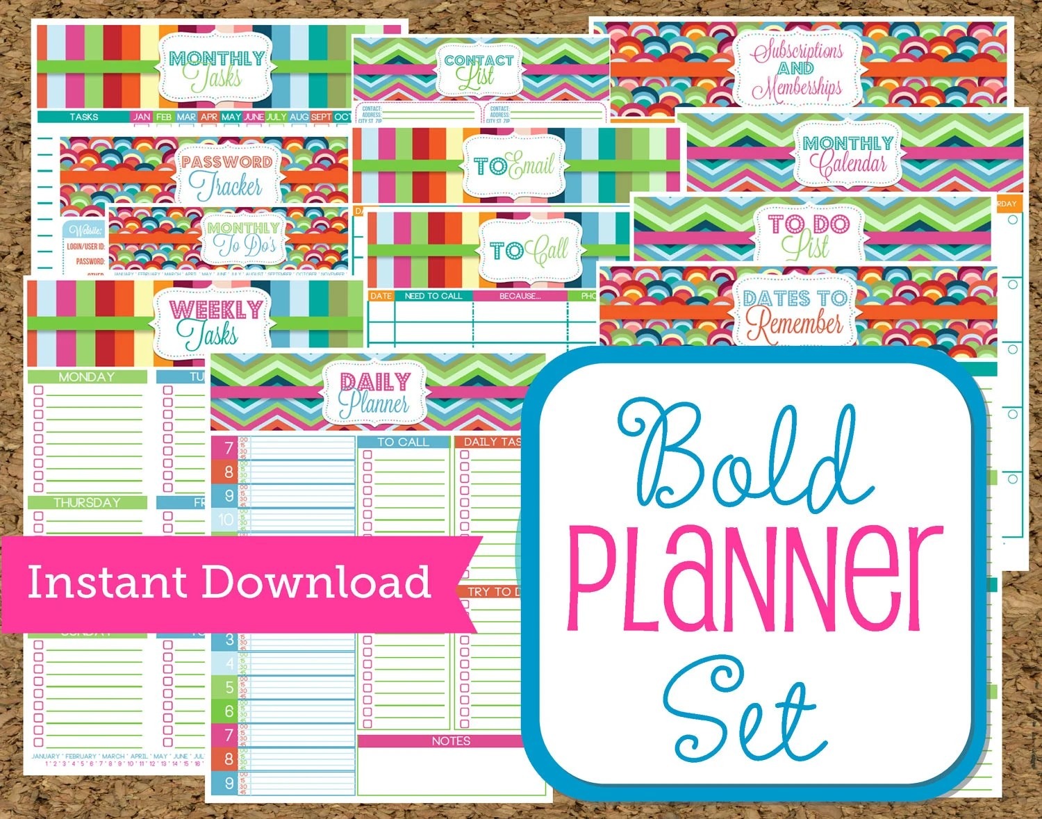Instant Download Planner Printables Set Bold Pattern Home And