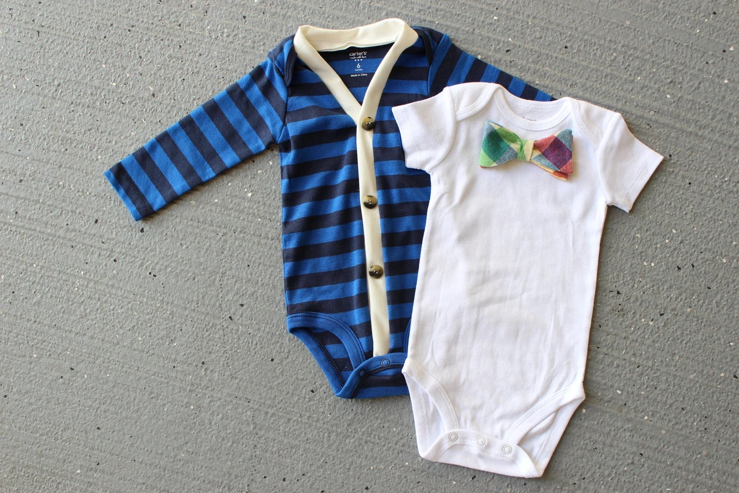Cardigan and Bow Tie Onesie Set - Trendy Baby Boy - Blue and Retro Plaid