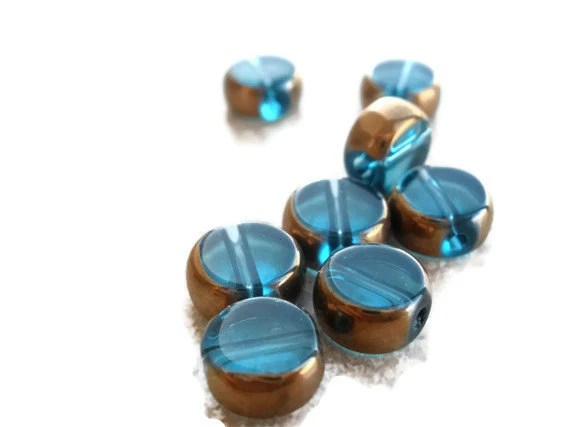 Blue and gold glass beads 8mm 8 pieces - LoveJunkies
