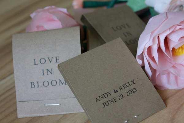 Love In Bloom Custom Wedding Favors Matchbook