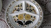 Adult divided Plates Retro Kitchen Decor TV Dinner Blue Plate