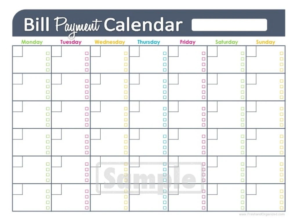Bill Payments Calendar Editable Personal By Freshandorganized