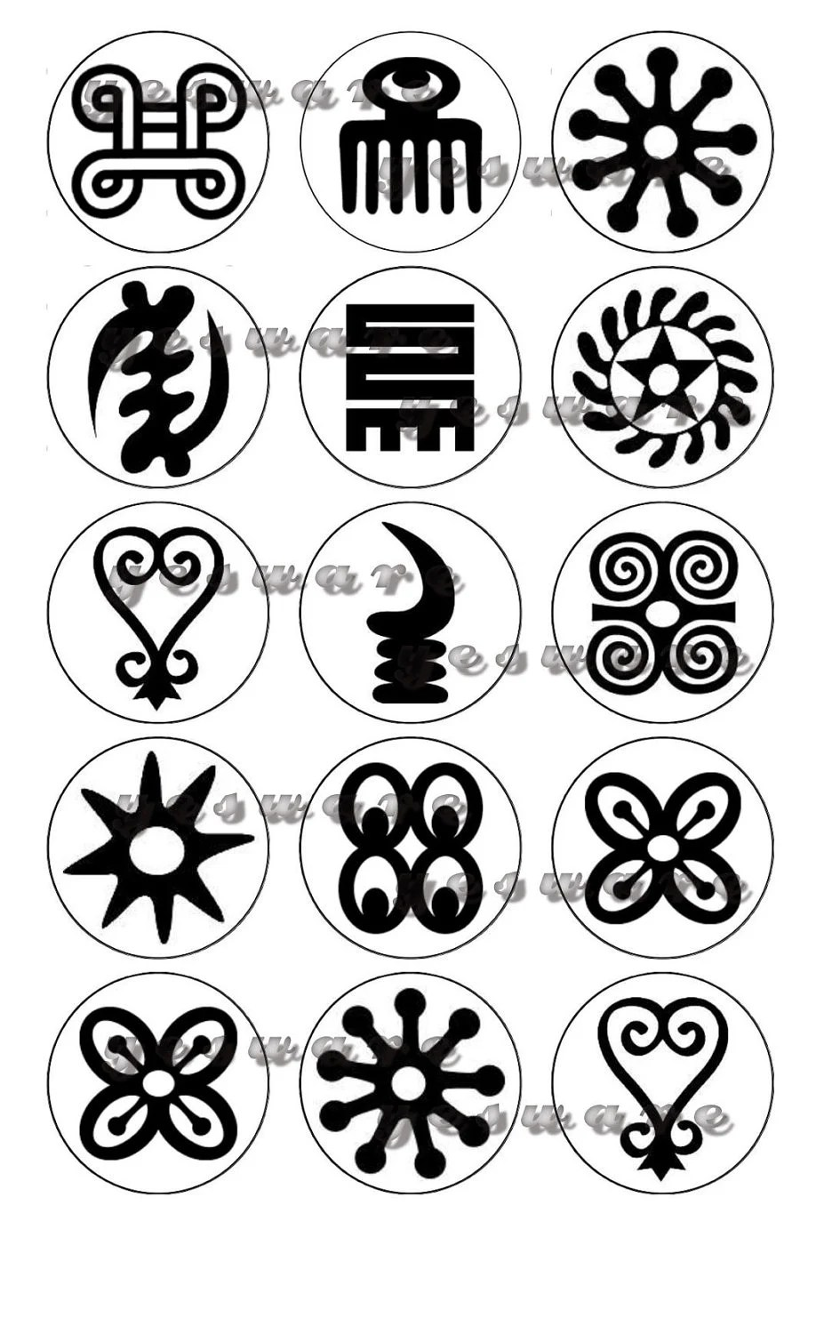 ADINKRA Tribal Images black and white Digital 1 by TimeWaves