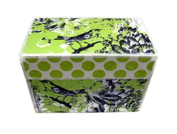 Little Bird Recipe Box - Decoupaged with Pistachio Colored Prints - Matching Dividers Available as Custom Listing - Lovefortheworld