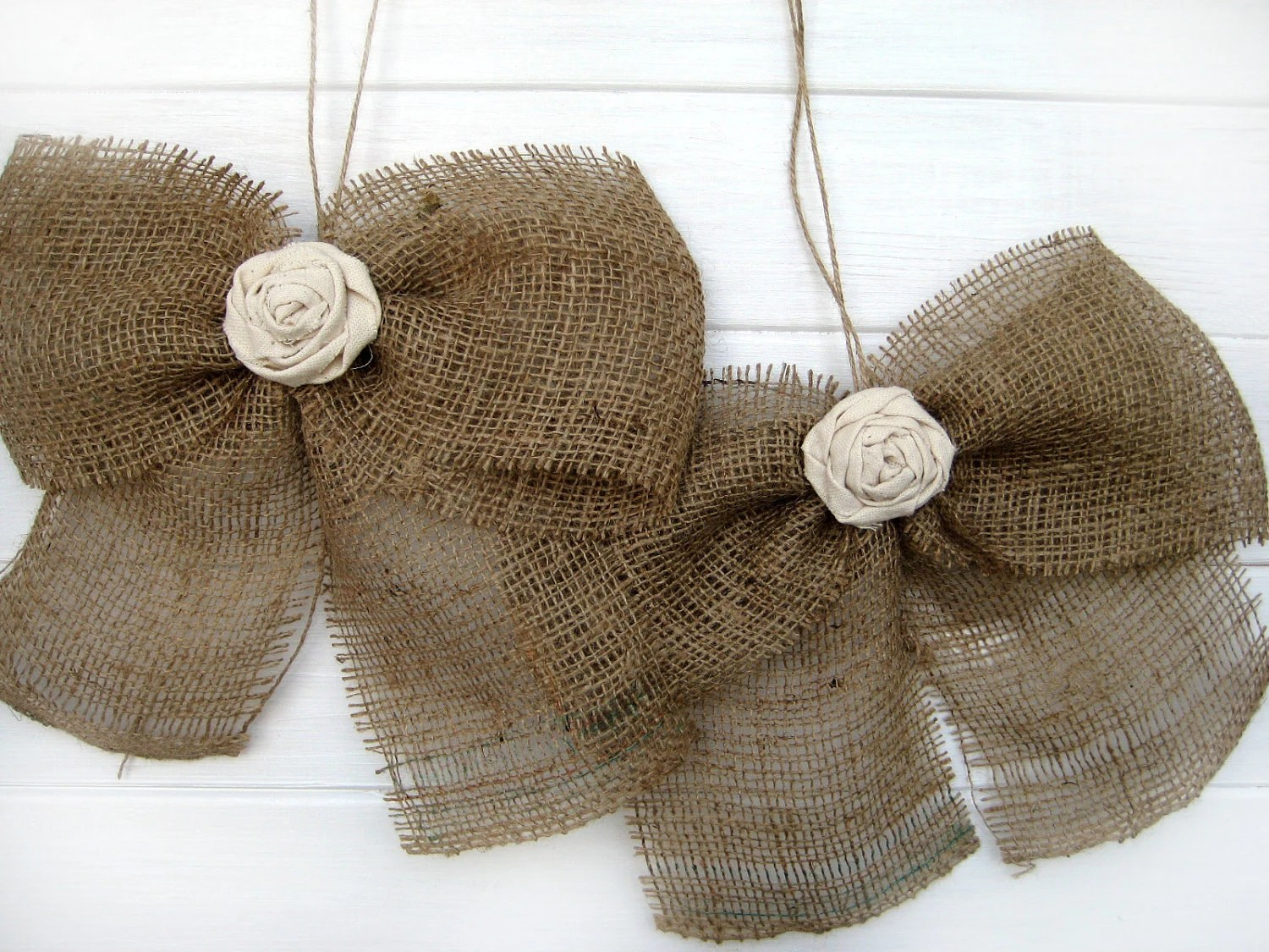 burlap bows for wedding chairs gym equipment captains chair bow rustic fabric rose set of 2 pew aisle