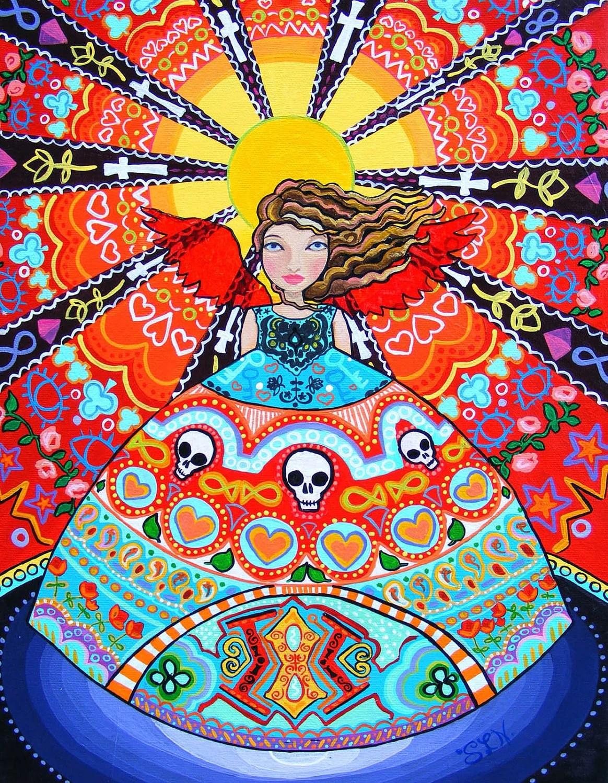 Mexican Folk Art Angel Paintings