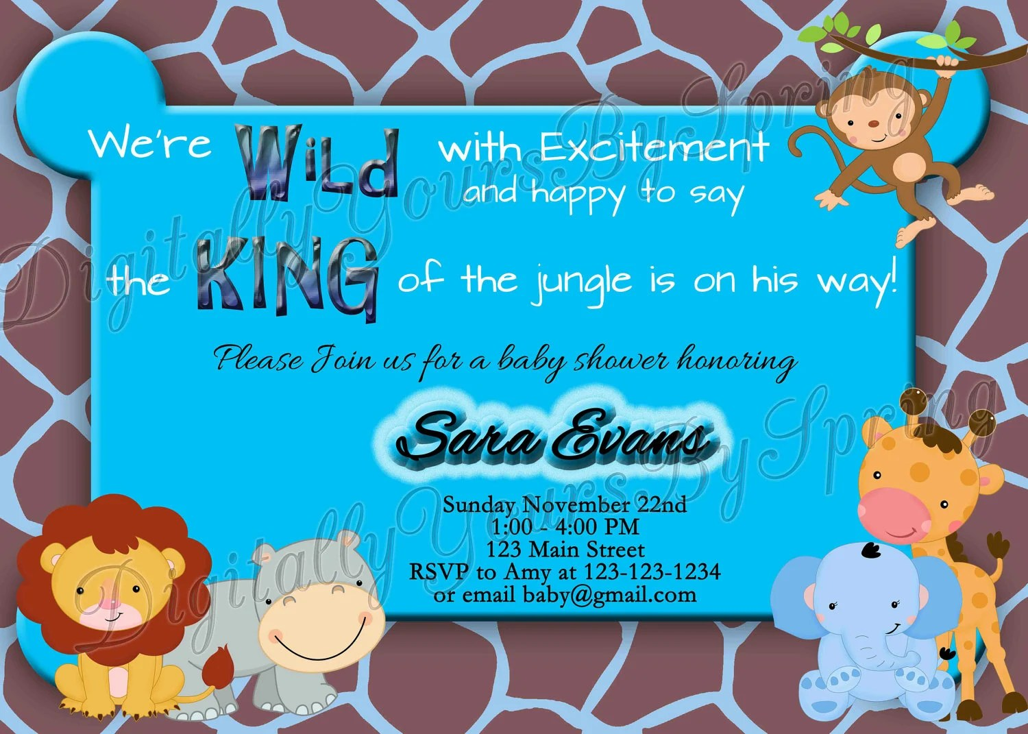 Printable Baby Shower Invitation Jungle Safari Theme You