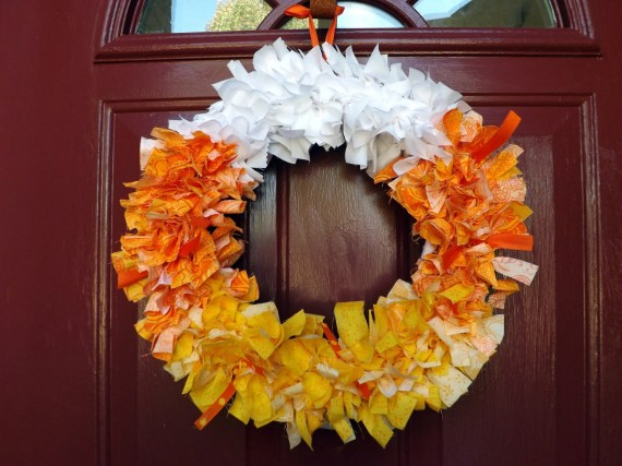 Candy Corn Fabric Wreath - EmilyGotCrafty