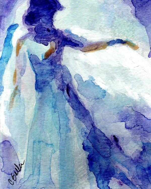 Blue Angel Watercolor Giclee Print Corinnegallastudios