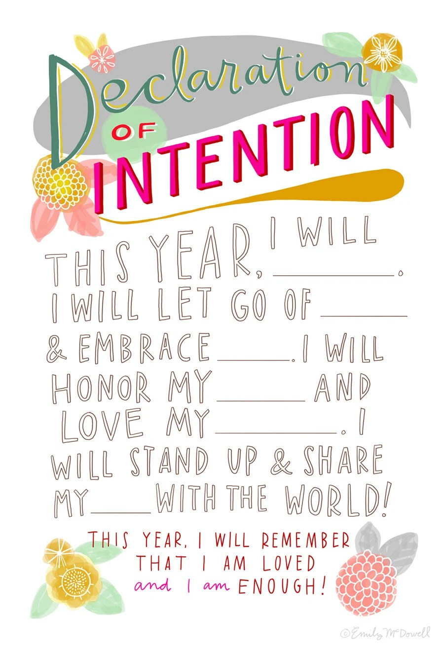 "Declaration of Intention: New Year's Resolution Hand-Lettered 13""x19"" Poster"