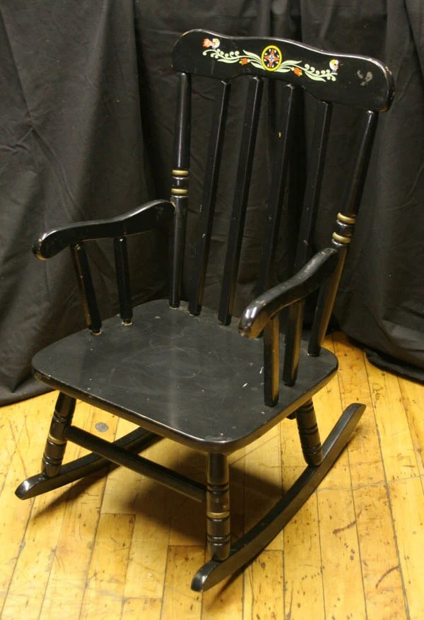Vintage Child Rocking Chair Painted Black Kids Childrens Style