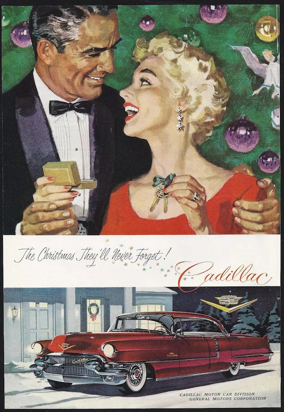 Vintage Cadillac ad Christmas 1955 Keys to the new car